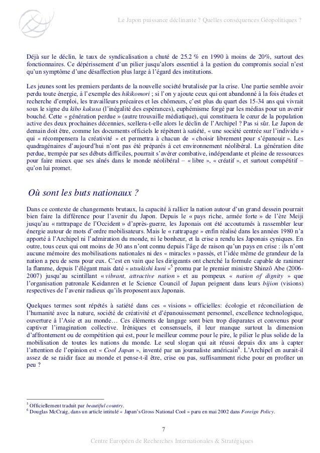 7 Centre Européen de Recherches Internationales & Stratégiques Déjà sur le déclin, le taux de syndicalisation a chuté de 2...