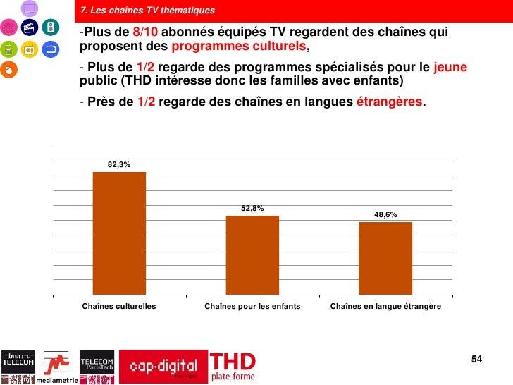 7. Les chaînes TV thématiques-Plus de 8/10 abonnés équipés TV regardent des chaînes quiproposent des programmes culturels,...