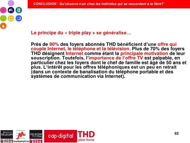 CONCLUSION : Qu'observe-t-on chez les individus qui se raccordent à la fibre?Le principe du « triple play » se généralise…...