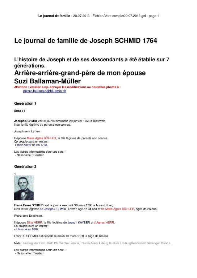Le journal de famille - 20.07.2013 - Fichier Arbre complet20.07.2013.gnl - page 1 Le journal de famille de Joseph SCHMID 1...