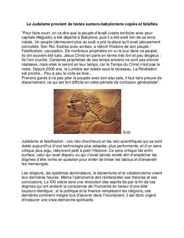 """Le Judaïsme provient de textes sumero-babyloniens copiés et falsifiés """"Pour faire court, on va dire que le peuple d'Israël..."""