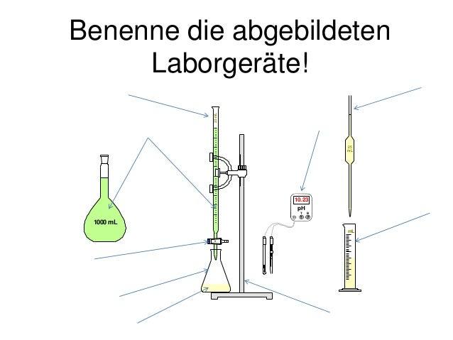 Benenne die abgebildeten Laborgeräte! 25mL 1000 mL mL 25 mL pH T B 10.23