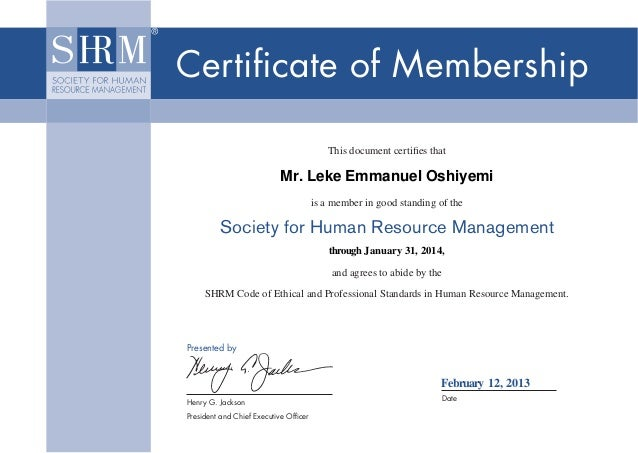 Certificate of Membership                                                       This document certifies that                ...