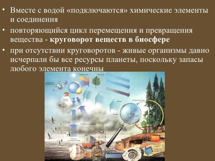 • Вместе с водой «подключаются» химические элементы  и соединения• повторяющийся цикл перемещения и превращения  вещества ...