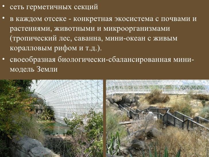 • сеть герметичных секций• в каждом отсеке - конкретная экосистема с почвами и  растениями, животными и микроорганизмами  ...