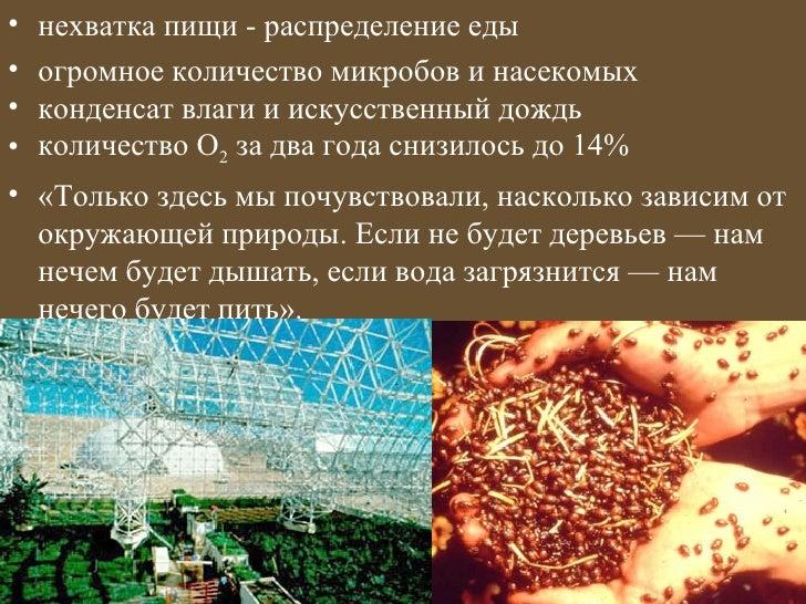 •   нехватка пищи - распределение еды•   огромное количество микробов и насекомых•   конденсат влаги и искусственный дождь...