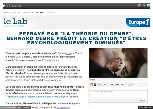 """Se connecter  EUROPE 1  LE JDD  PARIS MATCH  LE LAB E1  Mise à jour  EFFRAYÉ PAR """"LA THÉORIE DU GENRE"""", BERNARD DEBRÉ PRÉD..."""