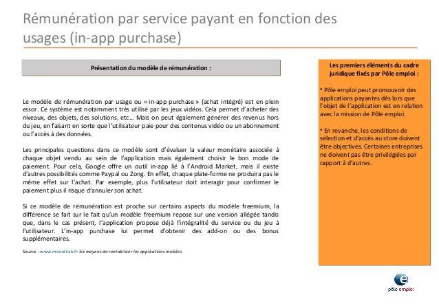 Direction de l'innovation et de la RSE Rémunération par service payant en fonction des usages (in-app purchase) Présentati...