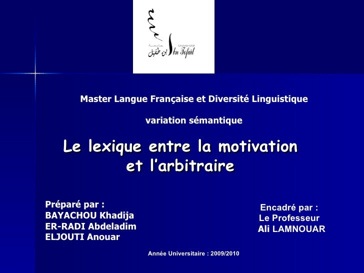 Master Langue Française et Diversité Linguistique variation sémantique Le lexique entre la motivation et l'arbitraire Prép...