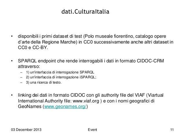 dati.CulturaItalia  •  disponibili i primi dataset di test (Polo museale fiorentino, catalogo opere d'arte della Regione M...