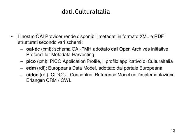 dati.CulturaItalia  •  Il nostro OAI Provider rende disponibili metadati in formato XML e RDF strutturati secondo vari sch...