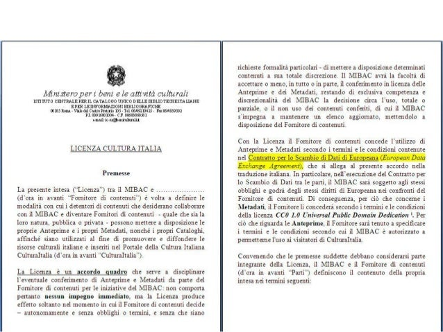 CulturaItalia/Europeana Nuova licenza CC0