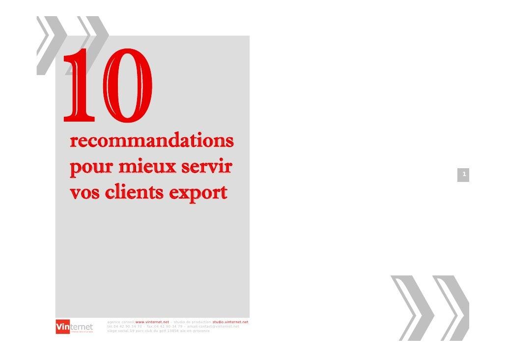recommandations pour mieux servir                                                                  1   vos clients export ...