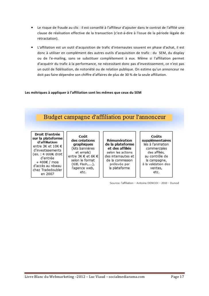•   Le risque de fraude au clic : il est conseillé à l'affilieur dajouter dans le contrat de laffilié une       clause de ...