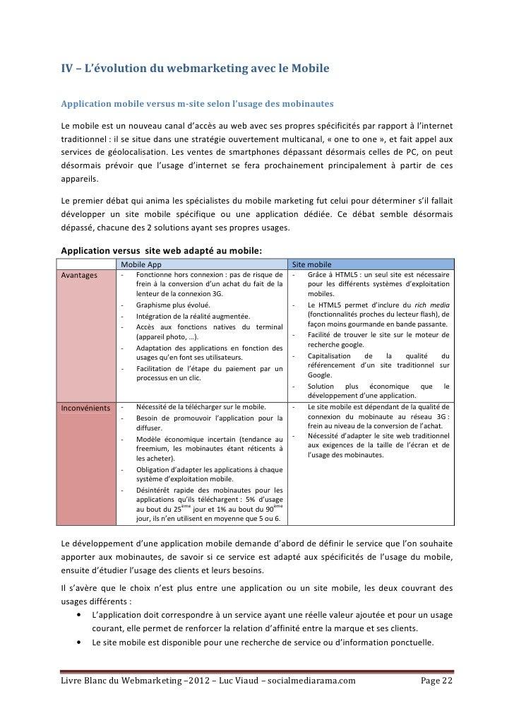 IV – L'évolution du webmarketing avec le MobileApplication mobile versus m-site selon l'usage des mobinautesLe mobile est ...