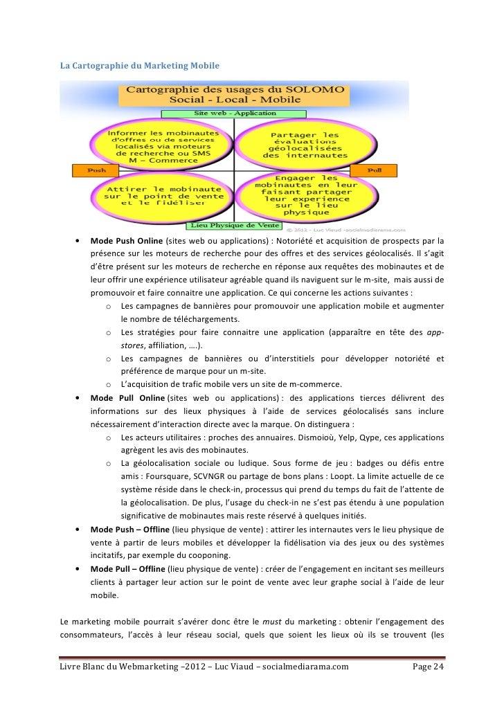 La Cartographie du Marketing Mobile   •   Mode Push Online (sites web ou applications) : Notoriété et acquisition de prosp...