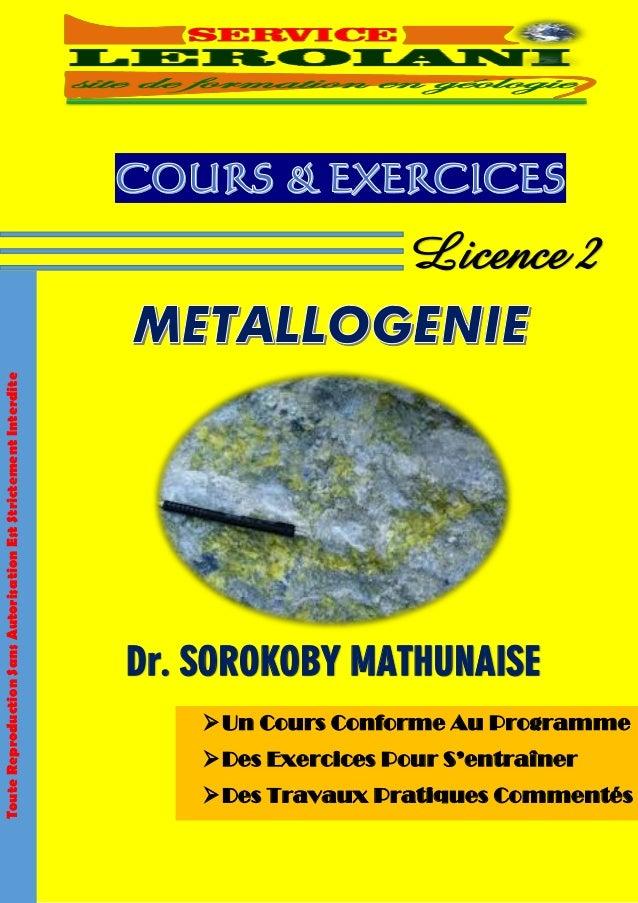 Un Cours Conforme Au Programme Des Exercices Pour S'entraîner Des Travaux Pratiques Commentés Dr. SOROKOBY MATHUNAISE L...