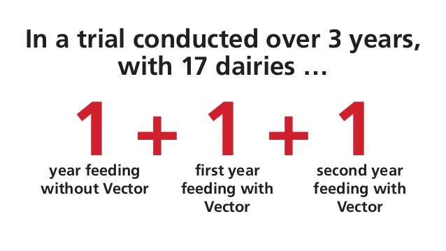 In a trial conducted over 3 years, with 17 dairies … year feeding without Vector first year feeding with Vector second yea...