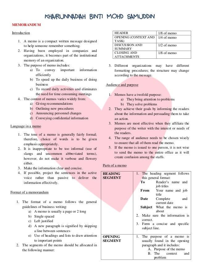 Lem 311 Notes Memorandum And Business Letters KHAIRUNNADIAH BINTI MOHD SAMUDDIN MEMORANDUM Introduction 1 A Memo Is Compact Written Message Designed