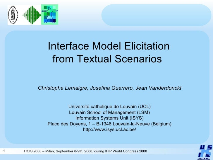 HCIS'2008 – Milan, September 8-9th, 2008, during IFIP World Congress 2008 Interface Model Elicitation from  Textual Scenar...