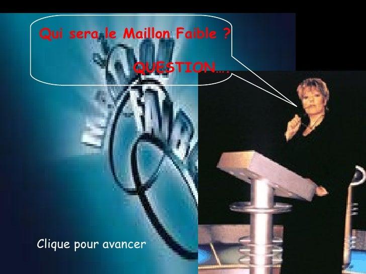 Clique pour avancer Qui sera le Maillon Faible ? QUESTION….