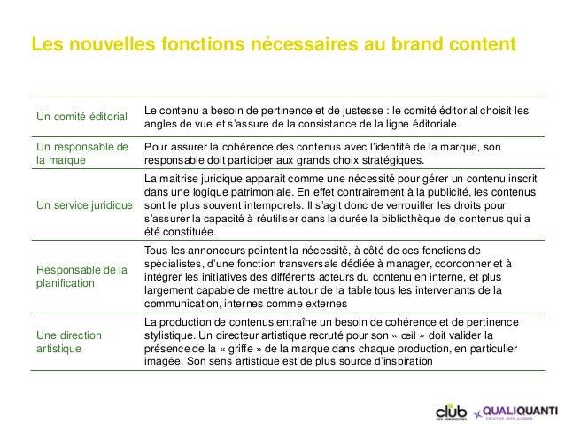 Les nouvelles fonctions nécessaires au brand content Un comité éditorial Le contenu a besoin de pertinence et de justesse ...