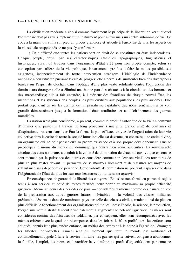 I—LACRISEDELACIVILISATIONMODERNE        Lacivilisationmoderneachoisicommefondementleprincipedelaliberté,...