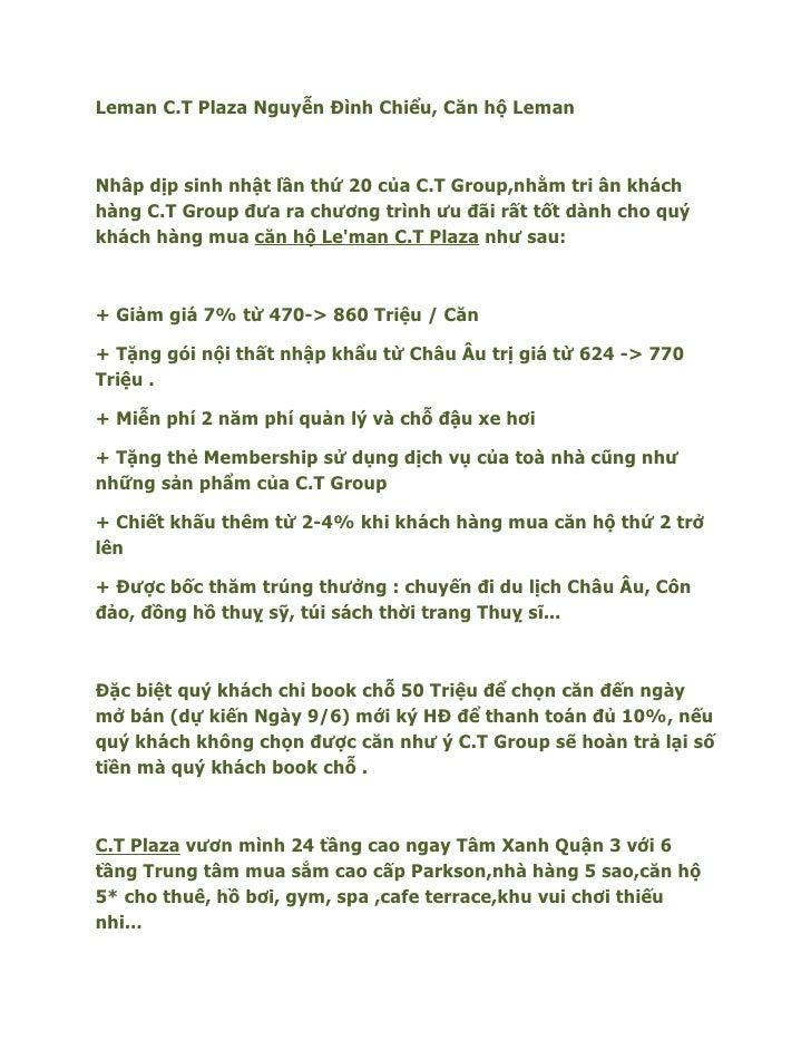 Leman C.T Plaza Nguyễn Đình Chiểu, Căn hộ LemanNhâp dịp sinh nhật lần thứ 20 của C.T Group,nhằm tri ân kháchhàng C.T Group...