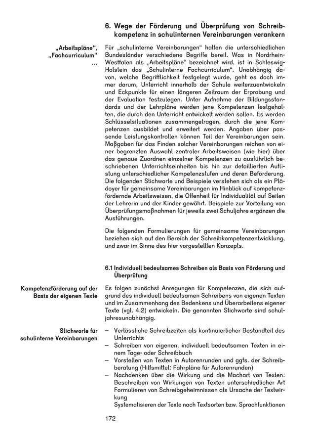 """6. Wege der Förderung und Überprüfung von Schreib-kompetenz  172  in schulinternen Vereinbarungen verankern  Für """"schulint..."""