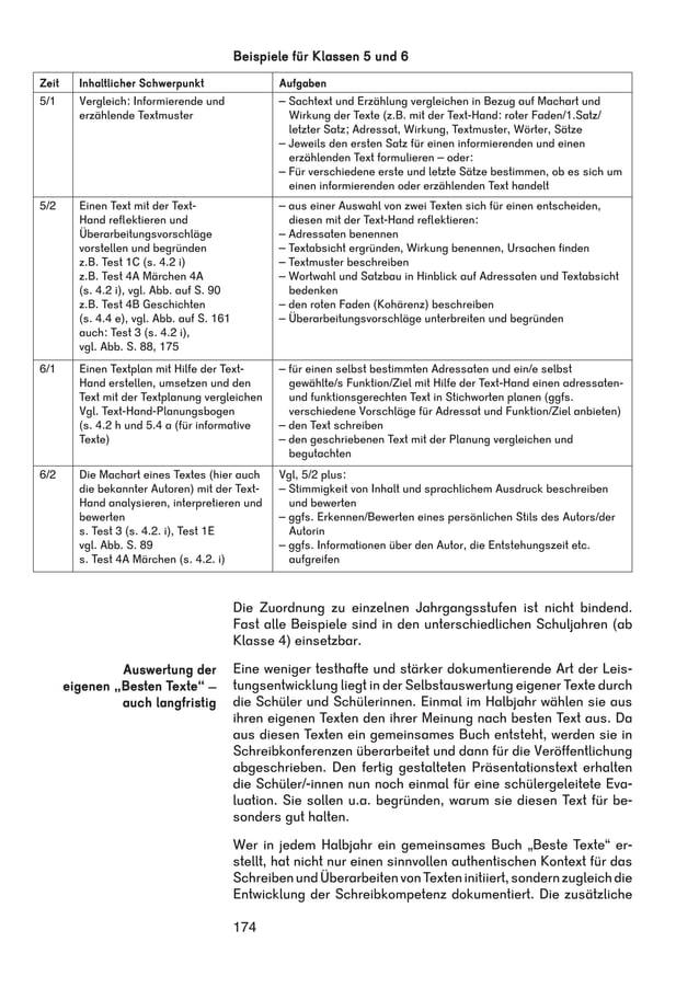 Beispiele für Klassen 5 und 6  Zeit Inhaltlicher Schwerpunkt Aufgaben  5/1 Vergleich: Informierende und  174  erzählende T...