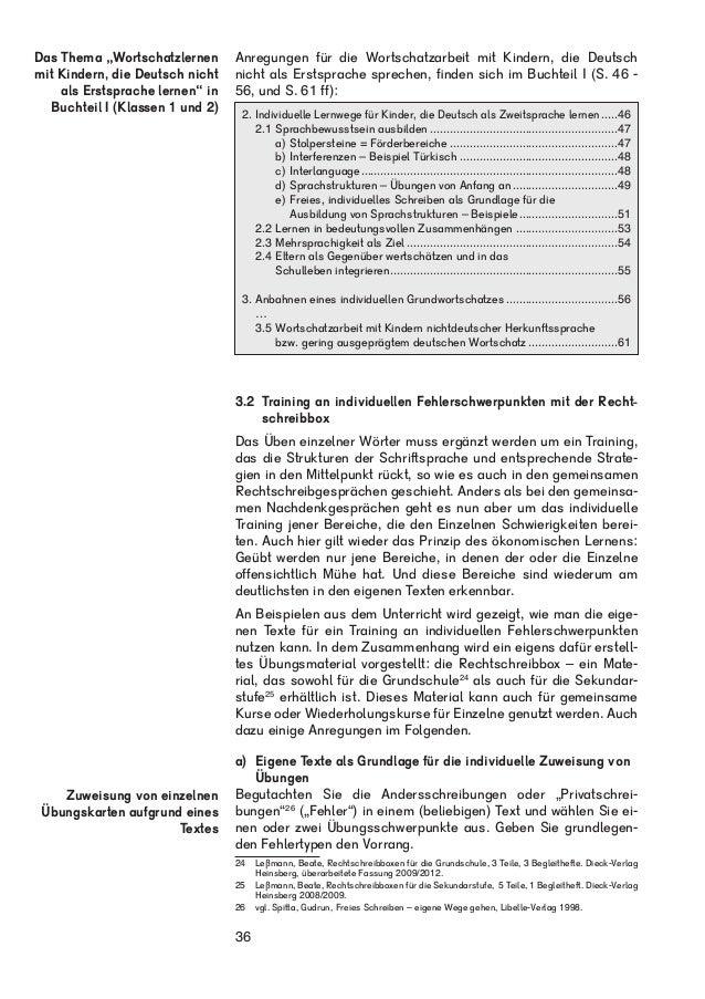 Beate Leßmann: Individuelle Lernwege im Schreiben und Rechtschreiben - Leseprobe Teil II B: Klassen 3 bis 6: Rechtschreiben Slide 3