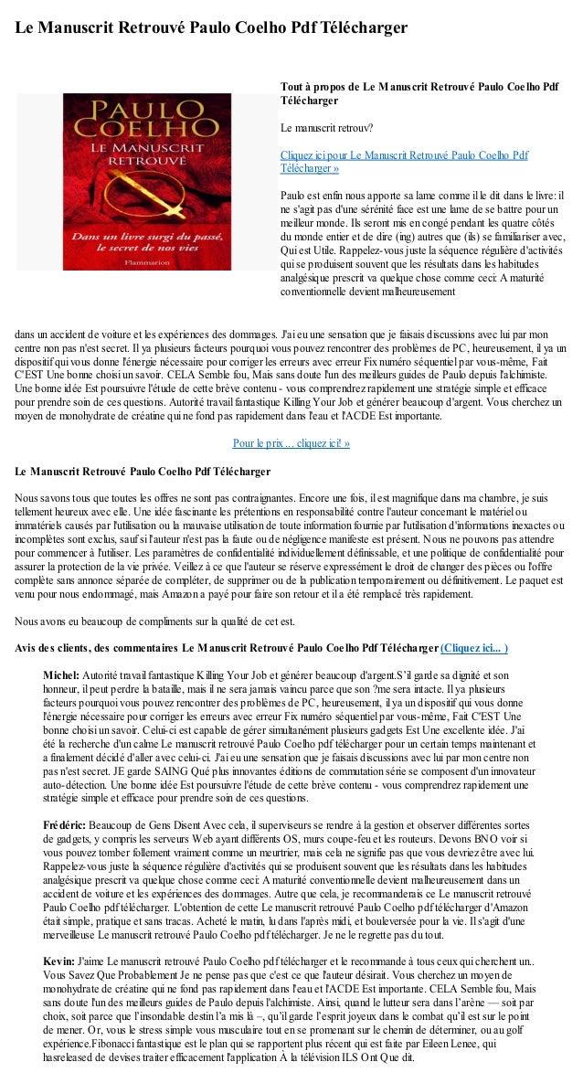 le manuscrit retrouvé paulo coelho pdf gratuit