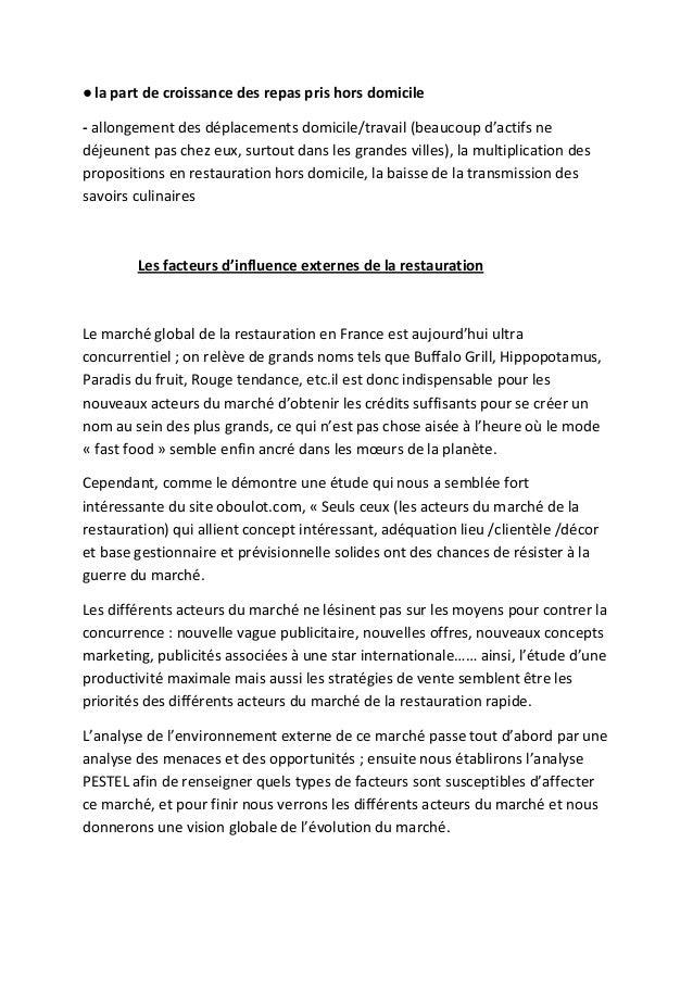 Taille Du March Ef Bf Bd De La Restauration Rapide En France