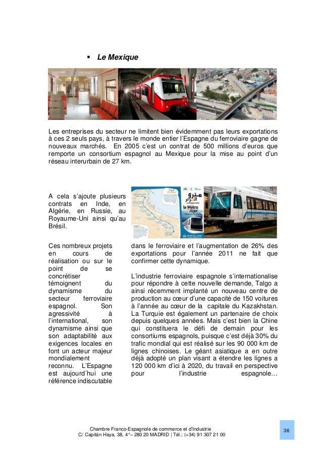 Le march ferroviaire en espagne 2013 chambre franco - Chambre de commerce franco espagnole ...