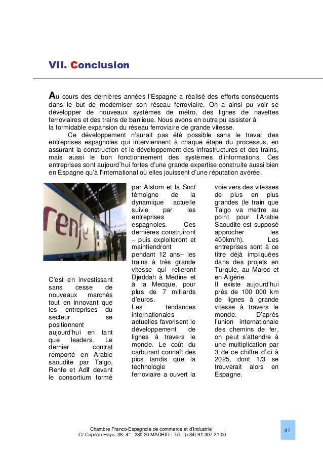 Le march ferroviaire en espagne 2013 chambre franco for Chambre de commerce franco chinoise