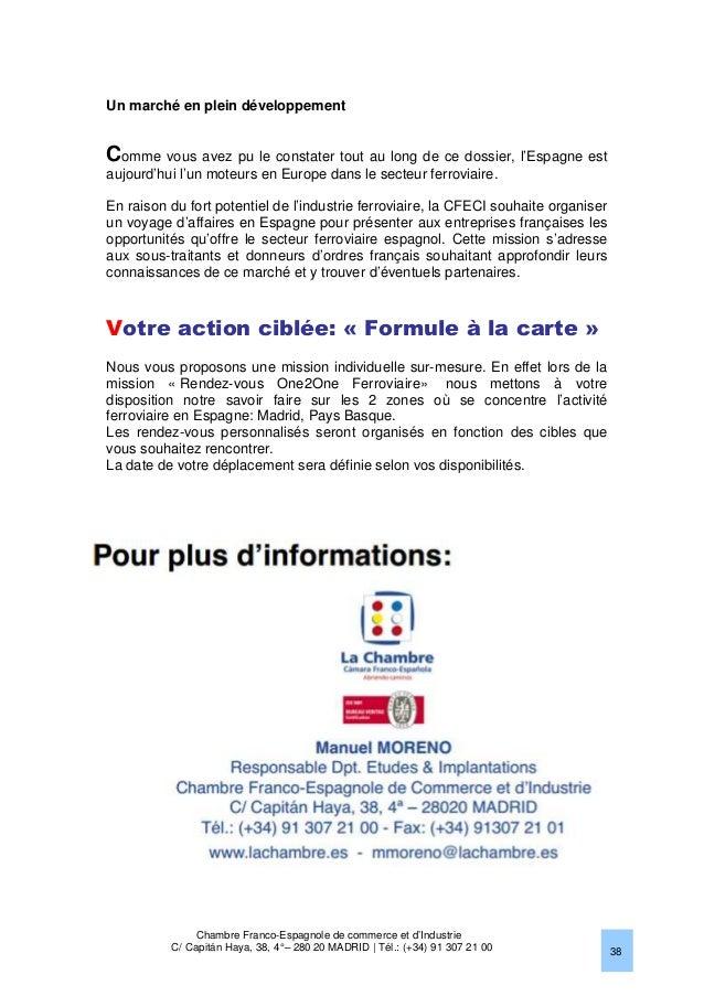 Le march ferroviaire en espagne 2013 chambre franco - Chambre franco allemande de commerce et d industrie ...