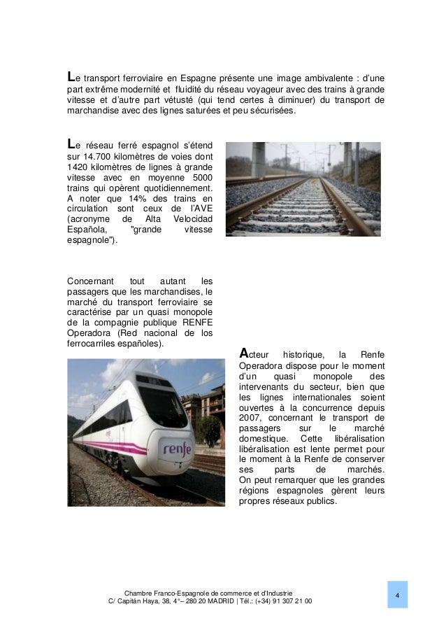 le marche ferroviaire en espagne 2013 chambre franco With chambre de commerce franco espagnole