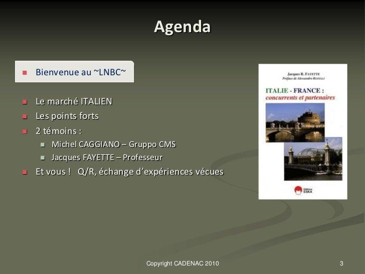 Le marché italien  oct.2010 Slide 3