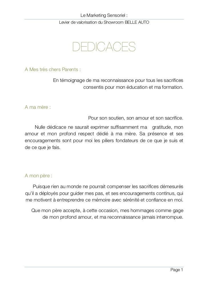Le Marketing Sensoriel :                   Levier de valorisation du Showroom BELLE AUTO                         DEDICACES...