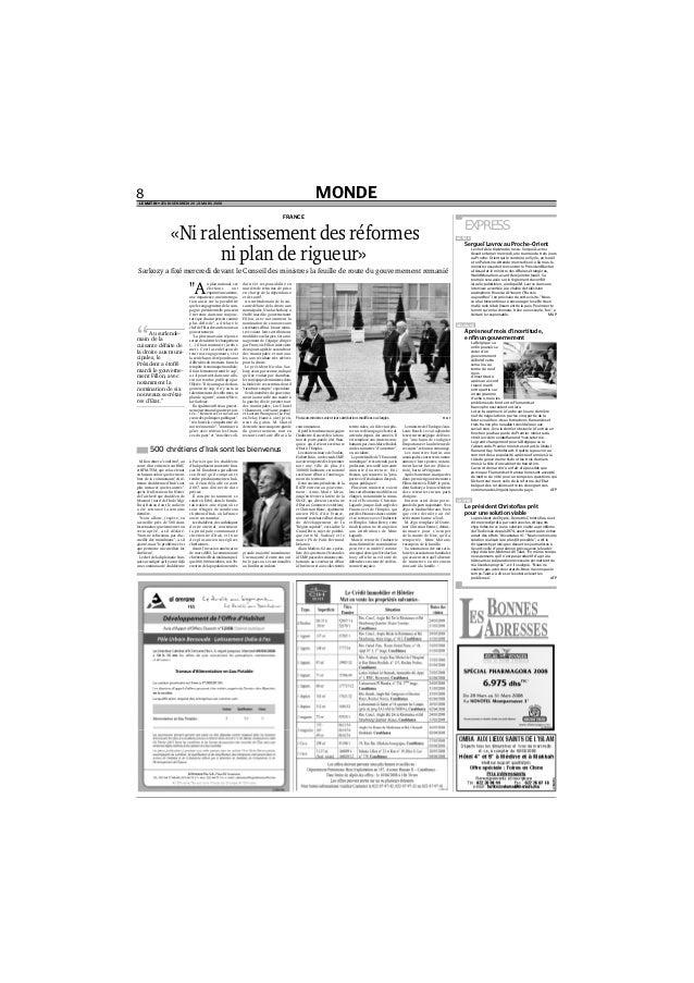 """MONDE8 LE MATIN • JEUDI-VENDREDI 20-21 MARS 2008 """"A u plan national, ces élections ont exprimé une attente, une impatience..."""