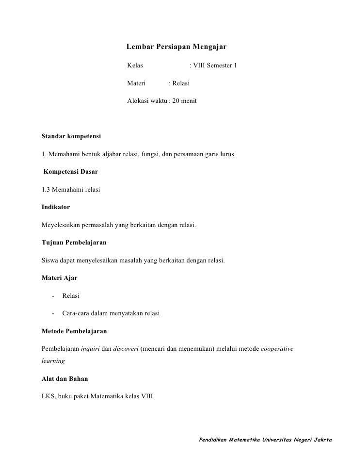 Lembar Persiapan Mengajar                              Kelas                 : VIII Semester 1                            ...