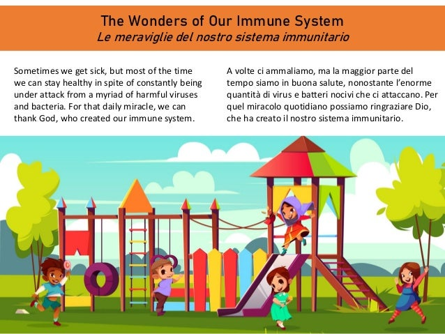 The Wonders of Our Immune System Le meraviglie del nostro sistema immunitario Sometimes we get sick, but most of the time ...