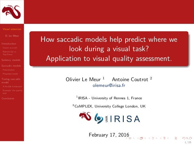 Visual attention O. Le Meur Introduction Covert vs overt Bottom-Up vs Top-Down Saliency models Saccadic models Presentatio...