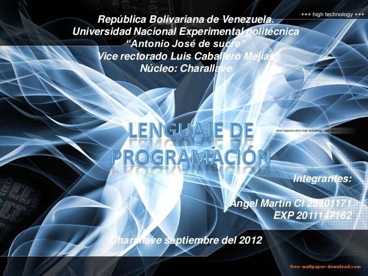 """República Bolivariana de Venezuela.Universidad Nacional Experimental politécnica          """"Antonio José de sucre""""    Vice ..."""