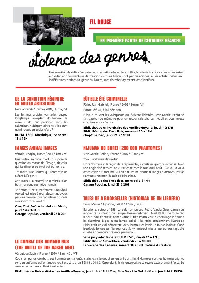fil rouge en première partie de certaines séances  violence des genres  Une sélection de vidéos françaises et internationa...