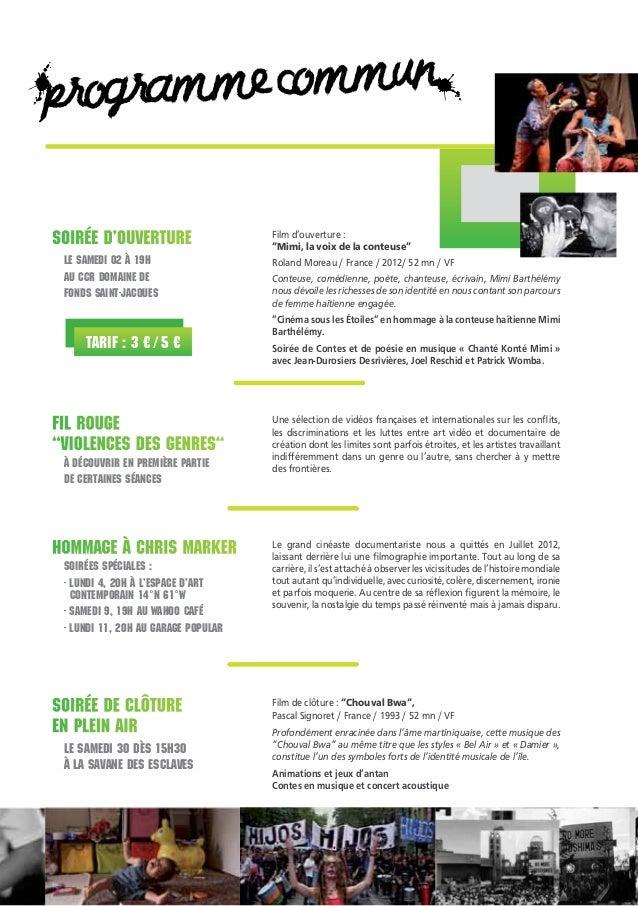 gramme commun pro Soirée d'ouverture Le samedi 02 à 19h au CCR domaine de Fonds Saint-Jacques  Tarif : 3 € / 5 €  Film d'o...