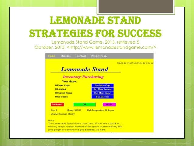 LEMONADE STAND STRATEGIES FOR SUCCESS Lemonade Stand Game, 2013, retrieved 5 October, 2013, <http://www.lemonadestandgame....