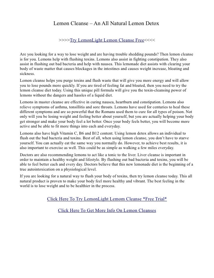 Lemon Cleanse – An All Natural Lemon Detox                         >>>>Try LemonLight Lemon Cleanse Free<<<<  Are you look...