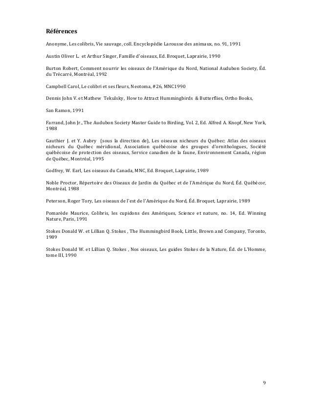 9 Références 91,1991Anonyme,Lescolibris,Viesauvage,coll.EncyclopédieLaroussedesanimaux,no. AustinOliverL...