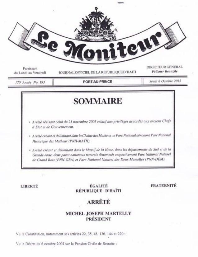 Lemoniteur193: Avantages pour les ministres tet kale